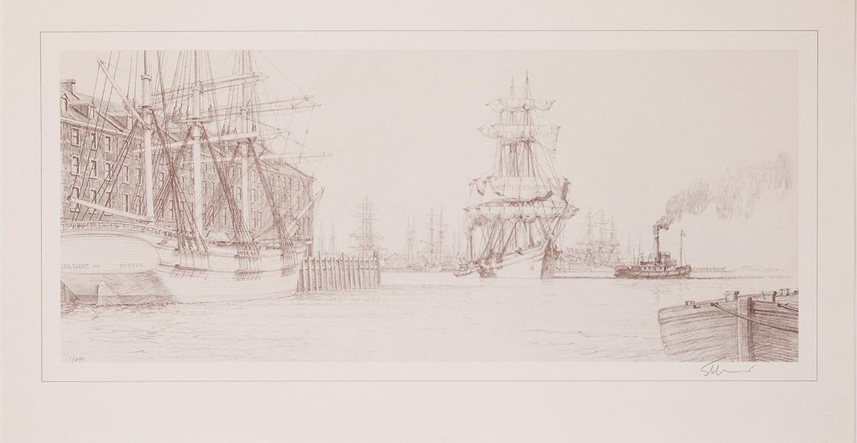 Boston End Paper Drawing of Boston Harbor