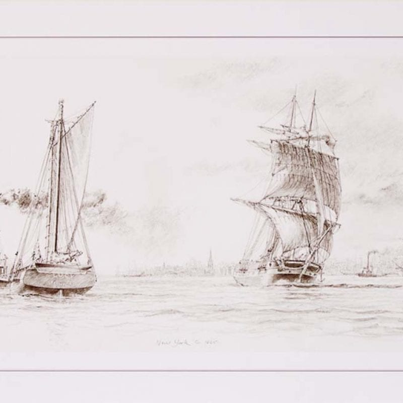 New York Endpaper Drawing of the Lower Bay c.186